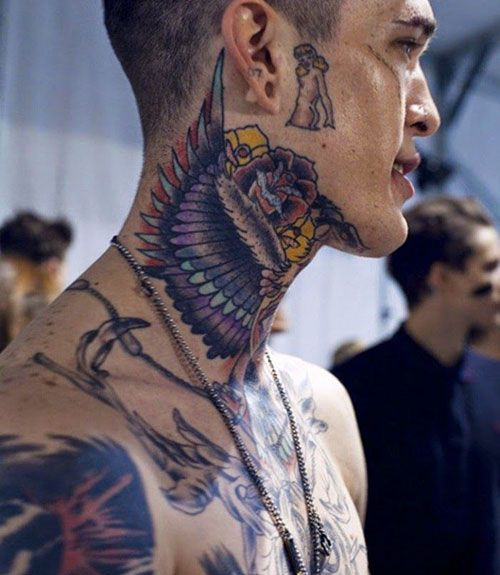 Large Neo-Traditional Neck Tattoo