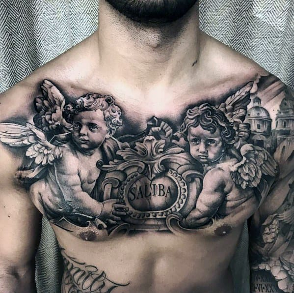 Realistic Cherubs on a Chest - Large Tattoo