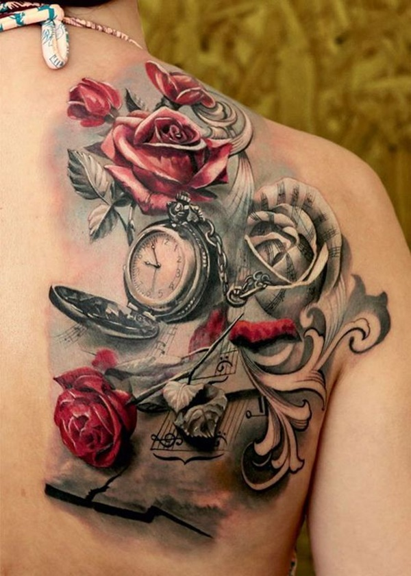 Red Roses and Clock Tattoos