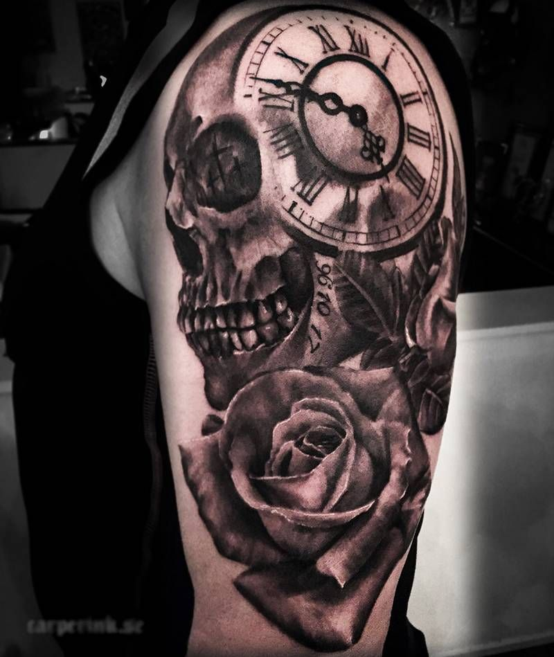 Skull with Rose and Clock