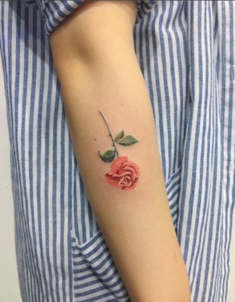 Upside Down Rose in Full Color Tattoo