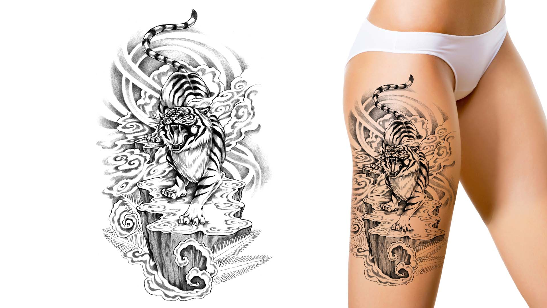 Create a tattoo design free -  Women With Tiger Custom Tattoo Design