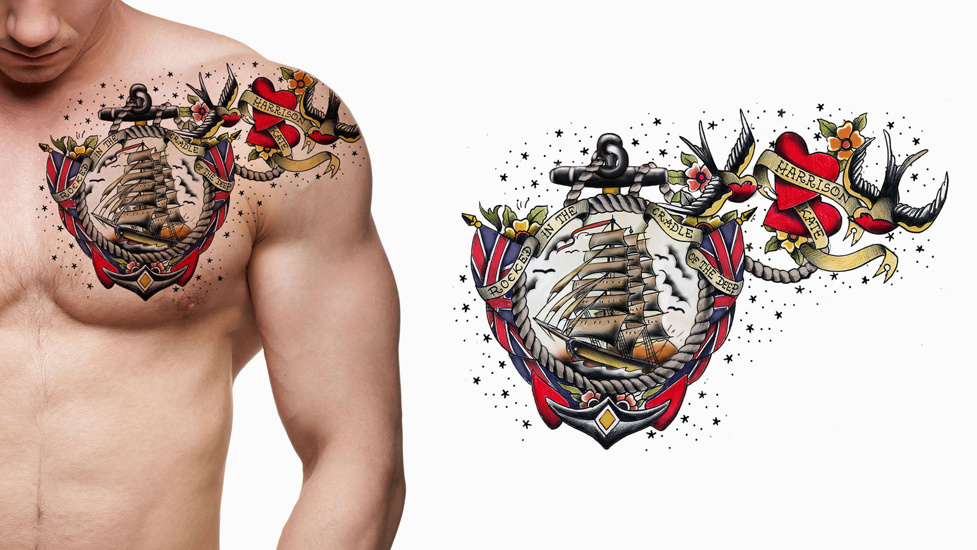 Click here for our old school tattoo gallery with 55 awesome old school tattoos, including gypsy, ship, anchor, pin up, eagle and Sailor Jerry designs.