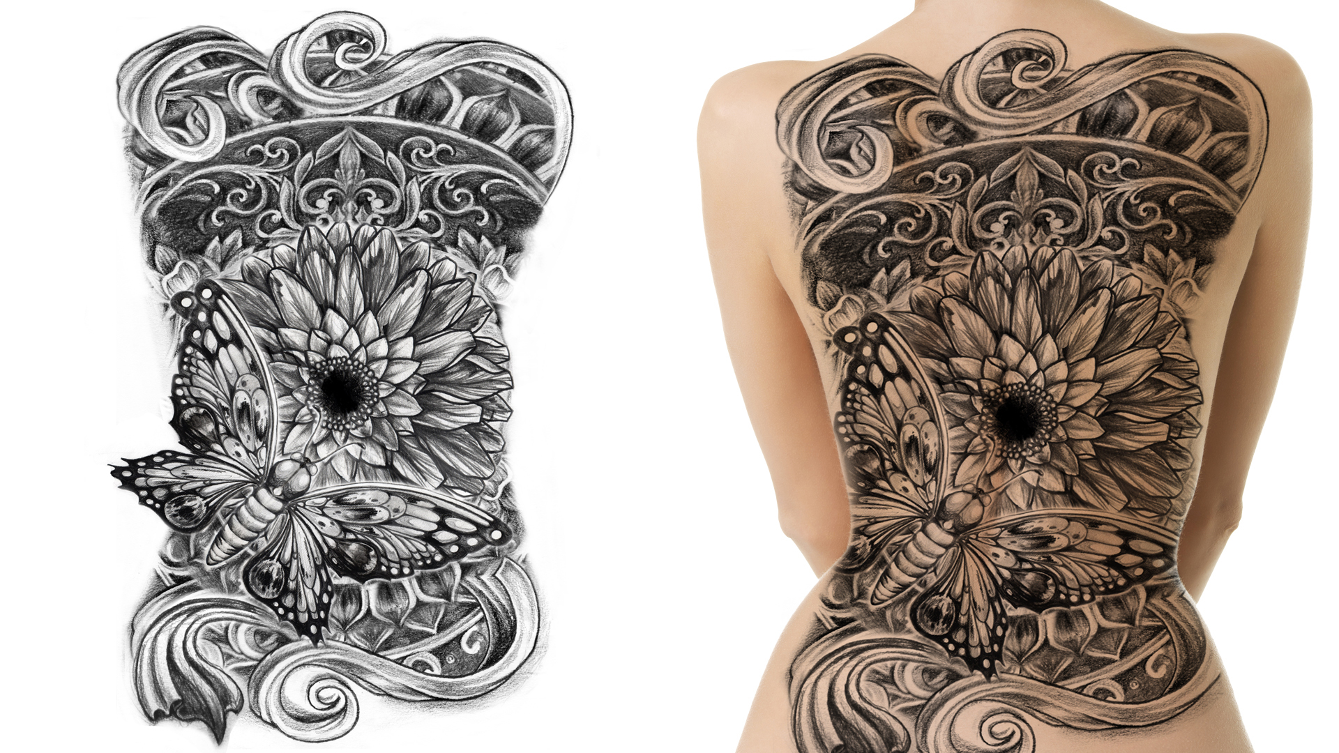 Tattoo design picture - Butterfly And Flower Full Back Tattoo Design