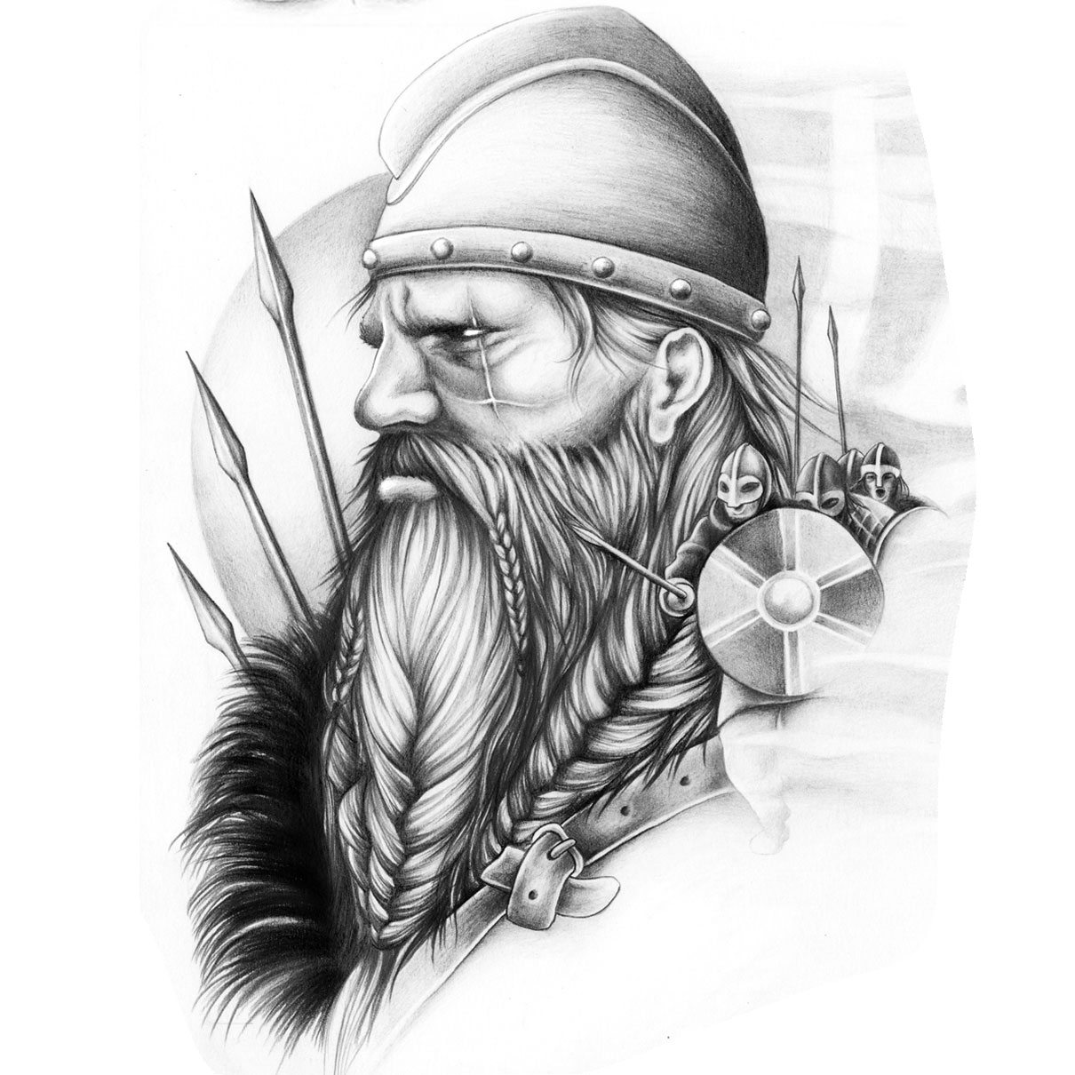 Tattoo design picture -  Warrior Viking Custom Tattoo Design