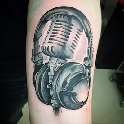 Microphone and Headphones Tattoo Designs
