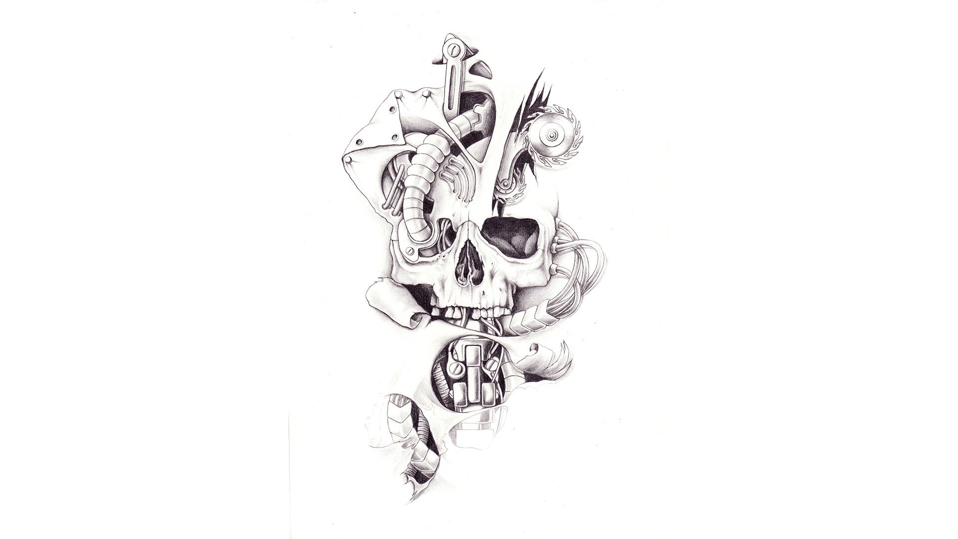 Tattoo design picture - Tambourine Custom Tattoo Design Robotic Skull Tattoo Design
