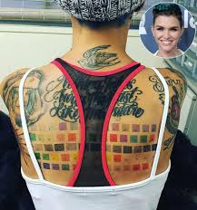 Ruby Rose Back Tattoo of Color Chart