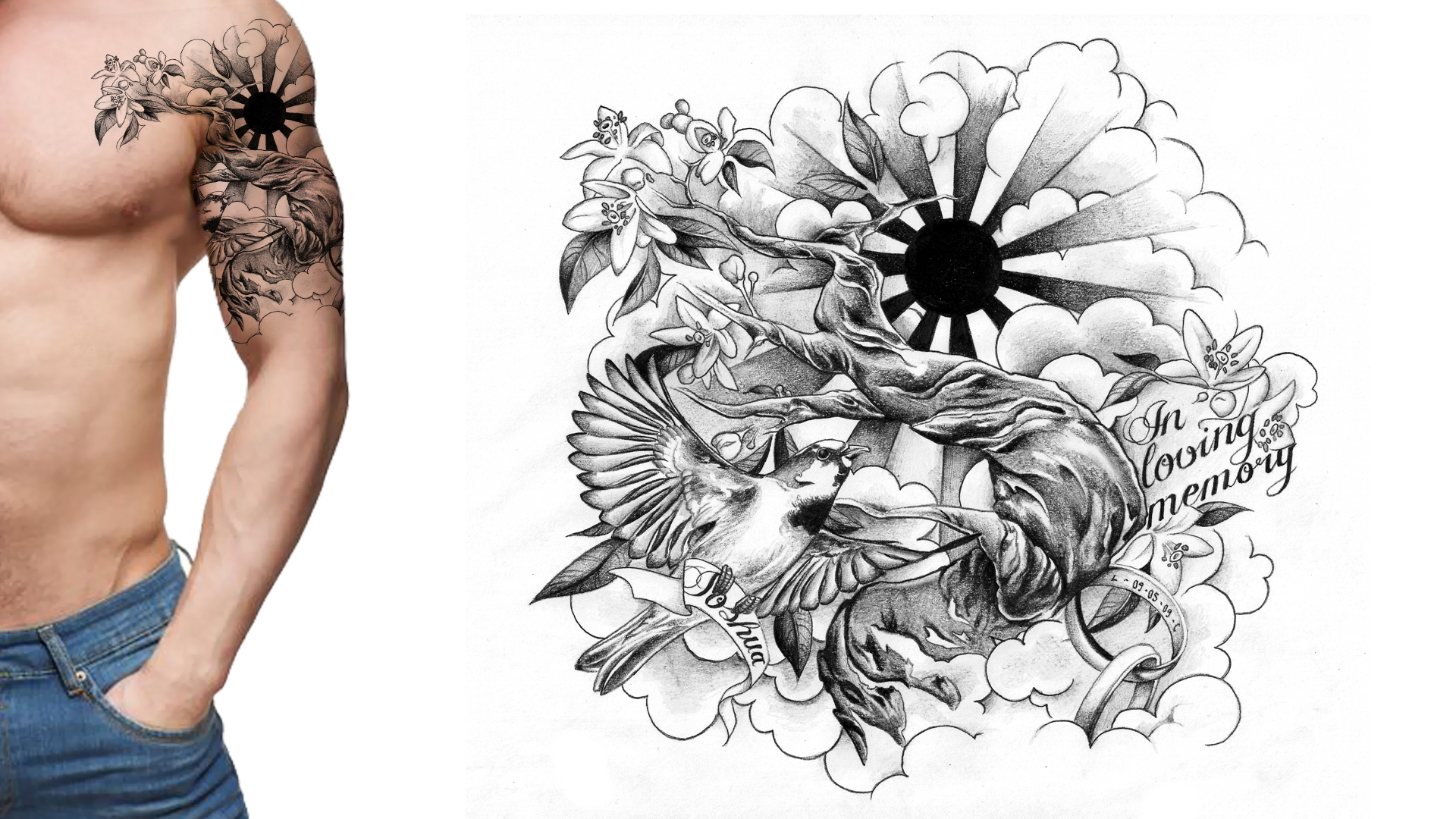 Tattoo design picture -  Sleeve Tattoo Design Memorial Tattoo