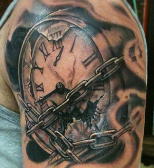 grandfather clock face tattoo. brokenprisonclockarmtattoodesigns grandfather clock face tattoo a