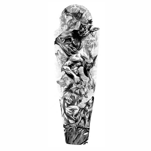 Tattoo Sleeve Stencils: Werewolves-full-sleeve-tattoo