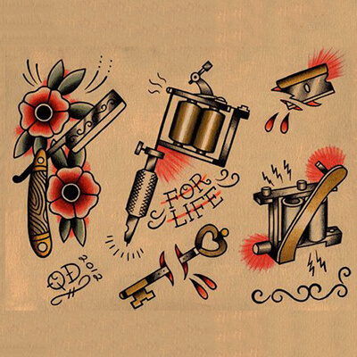 Various images in an American Traditional Tattoo Style