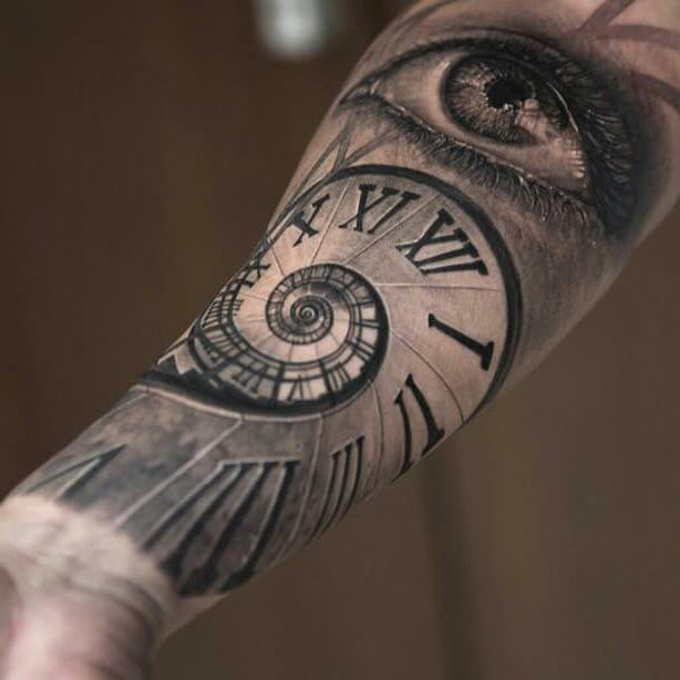 Spiral Clock and Eye Tattoo Sleeve Designs