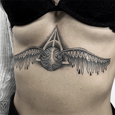 Golden Snitch from Harry Potter, Underboob Tatto