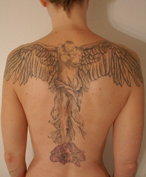 angel back tattoo custom tattoo design. Black Bedroom Furniture Sets. Home Design Ideas