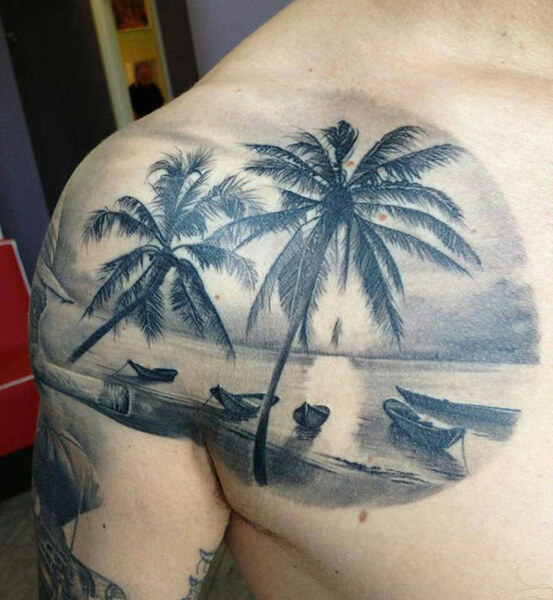 Beach Sunset Tattoo in Black and White