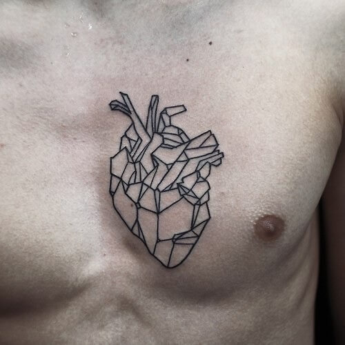 Geometric Heart Tattoo Outline