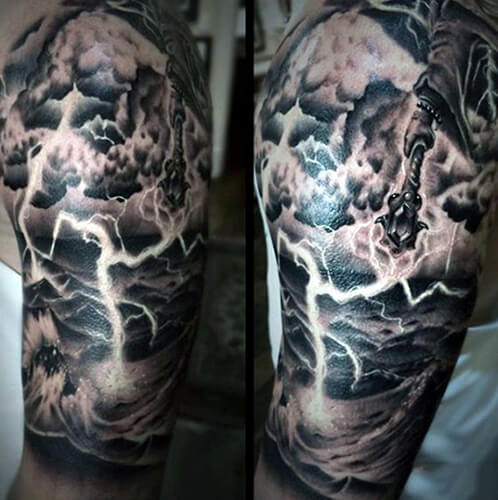 Lightning Tattoo with Clouds