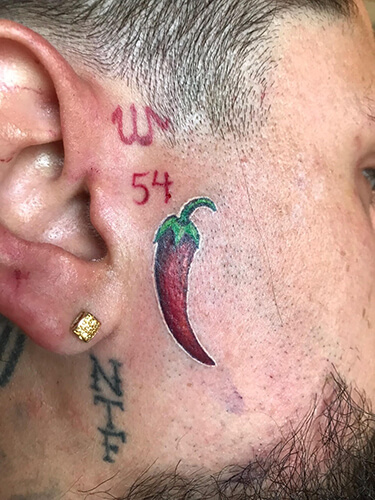 Face Tattoo of Chili Pepper