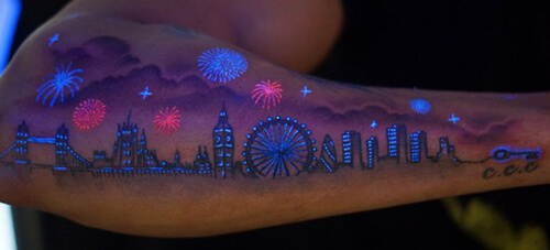 UV Ink Tattoo of a Cityscape