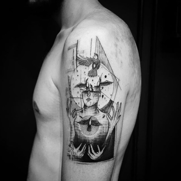 Black and Grey Abstract Tattoo