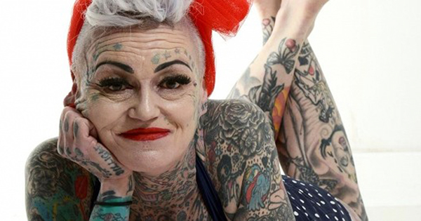 Older Woman with Tattooed Body