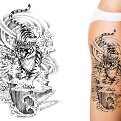 Women with tiger custom tattoo design