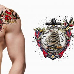 Nautical custom tattoo design inspired by Sailor Jerry