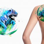 Watercolour tiger custom tattoo design in blue and green