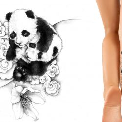 Pandas on a cloud tattoo designed for back of the leg