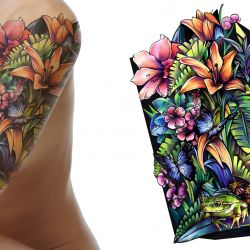 Butterflies, floral, and frog sleeve tattoo design