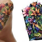 Floral sleeve and frog colour sleeve tattoo design
