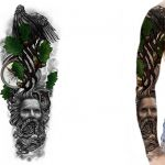 Custom sleeve tattoo design of an oak tree perched by an eagle
