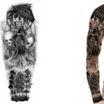 Sleeve tattoo design of raven and grim reaper in black and white