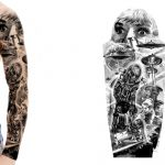 Sci-Fi sleeve tattoo design with Aliens and UFOs