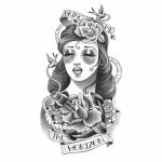 American Traditional Woman Tattoo Design