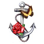 Anchor with a rose and butterfly tattoo
