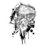 Black and White Watercolour Style Tattoo Design of a Dog
