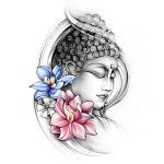 Budha with Colourful Lotus Flowers Tattoo