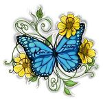 Butterfly and Daisies Tattoo
