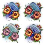 Comb and Flowers Tattoo Designs