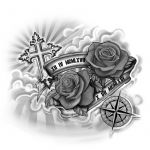 A Cross with Roses Tattoo Design