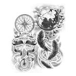 Feathers and Compass Tattoo Drawings