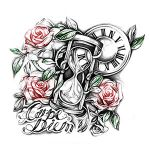 Flowers and Time Tattoo