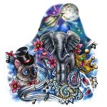 Full Color Tattoo Designs of Animals and Flowers