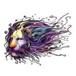 Lion's Head in Galaxy Tattoo Design in Watercolor