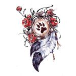 Rose and Feather Tattoo Design