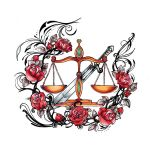 Roses and Justice Tattoo Designs
