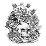 Skull with Roses and Playing Cards Tattoo