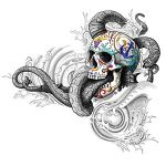 Colorful Sugar Skull and Octopus Tattoo Designs